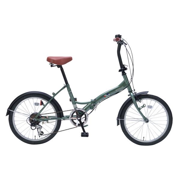 【代引不可】MYPALLAS(マイパラス):折畳自転車20インチ・6段ギア アイビーグリーン M-209 GR