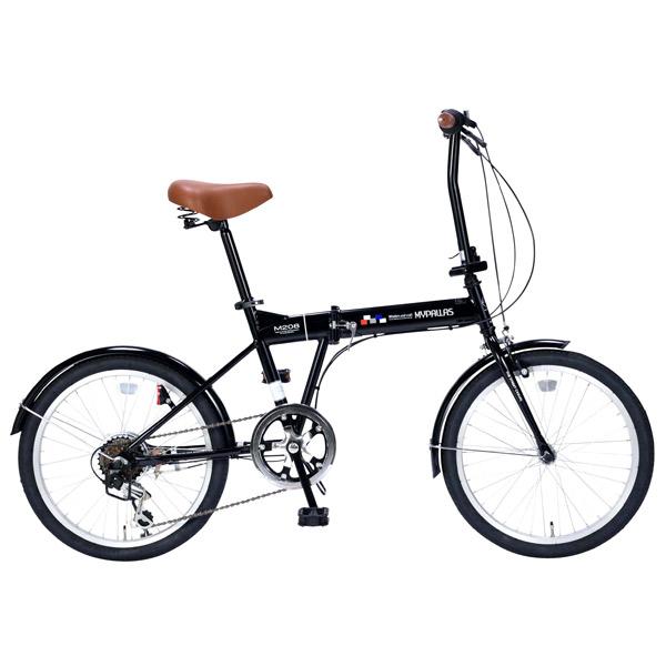 【代引不可】MYPALLAS(マイパラス):折畳自転車20インチ・6段ギア ブラック M-208 BK