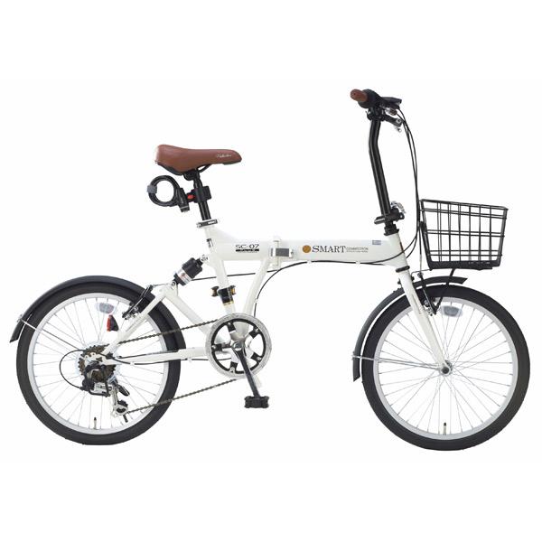 【代引不可】MYPALLAS(マイパラス):折畳自転車20インチ・6段ギア・リアサス アイボリー SC-07PLUS IV
