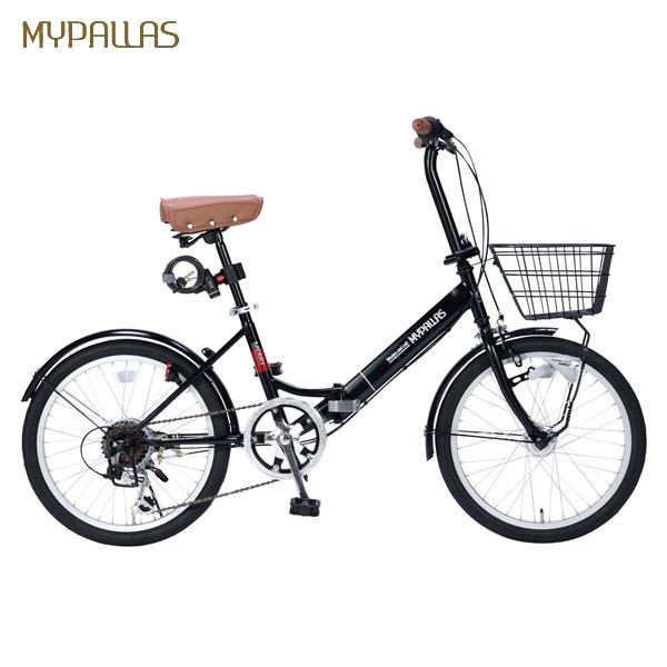 【代引不可】MYPALLAS(マイパラス):折畳自転車20インチ・6段ギア・オートライト ブラック M-204MERRY BK