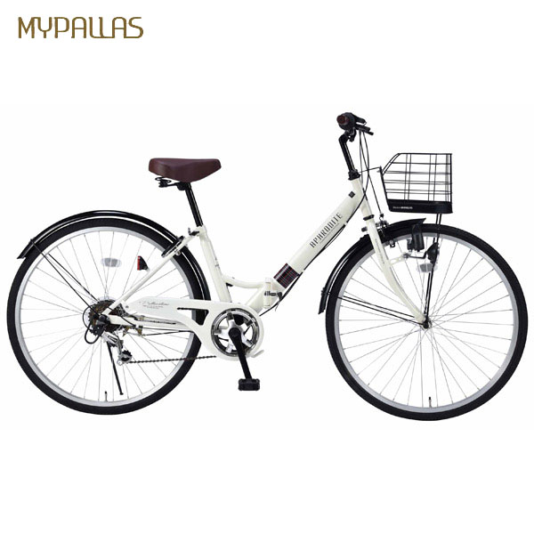 【代引不可】MYPALLAS(マイパラス):折畳シティサイクル26インチ・6段ギア アイボリー M-507 IV