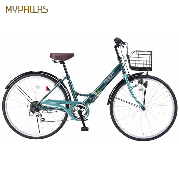 【代引不可】MYPALLAS(マイパラス):折畳シティサイクル26インチ・6段ギア グリーン M-507 GR
