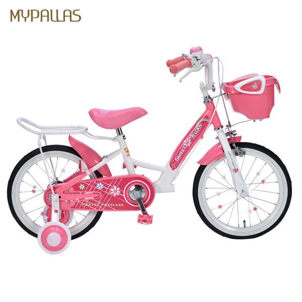 【代引不可】MYPALLAS(マイパラス):子供用自転車16インチ・補助輪付 ピンク MD-12 PK