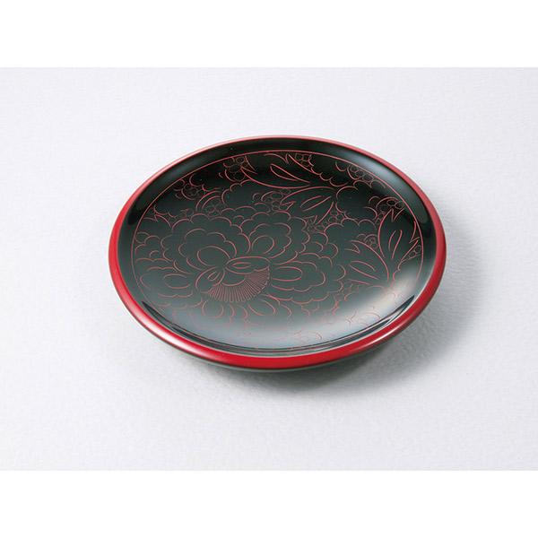 伊予桜井漆器会館:銘々皿 牡丹彫(木製・五客)