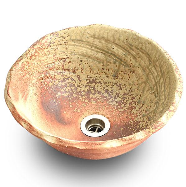 重蔵窯:信楽焼陶器手洗い 利休信楽手洗い鉢 W300xD290xH135変形炎木灰 002-29