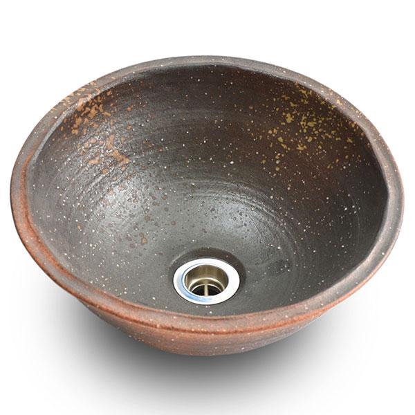重蔵窯:信楽焼陶器手洗い 利休信楽手洗い鉢 W300xD300xH125平津長石灰 004-30