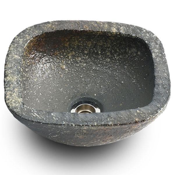 重蔵窯:信楽焼手洗い 利休信楽手洗い鉢 W300xD260xH125長角青古信楽長石 007-33