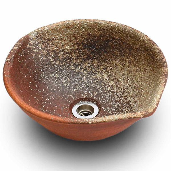 重蔵窯:信楽焼手洗い 利休信楽手洗い鉢 火色古信楽 E008-35