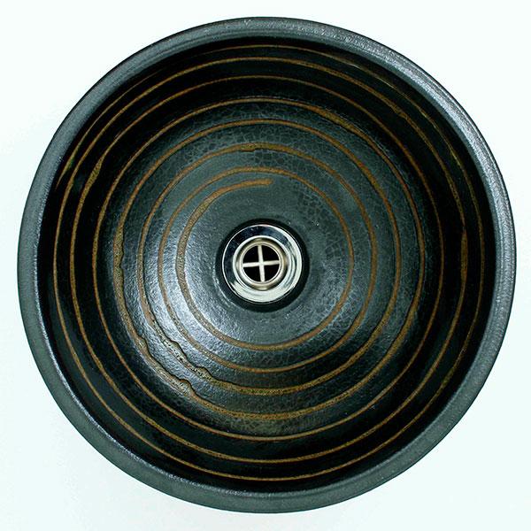 重蔵窯:信楽焼手洗い 利休信楽手洗い鉢 黒泥千引渥紋様 015-31