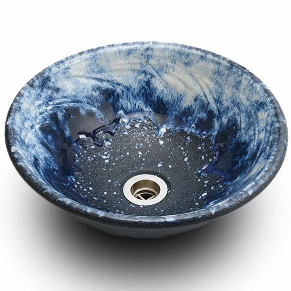 重蔵窯:信楽焼手洗い 利休信楽手洗い鉢 海鼠(なまこ) 016-33