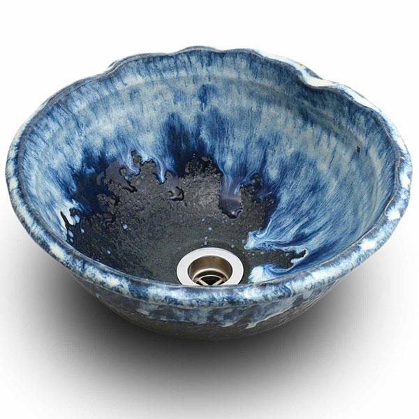 重蔵窯:信楽焼手洗い 利休信楽手洗い鉢 海鼠(なまこ) 017-29