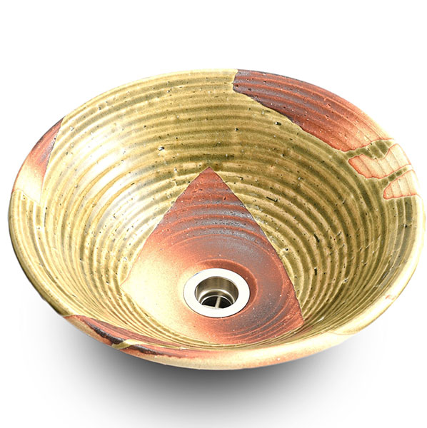 重蔵窯:信楽焼手洗い 利休信楽手洗い鉢 炎栗灰 003-36