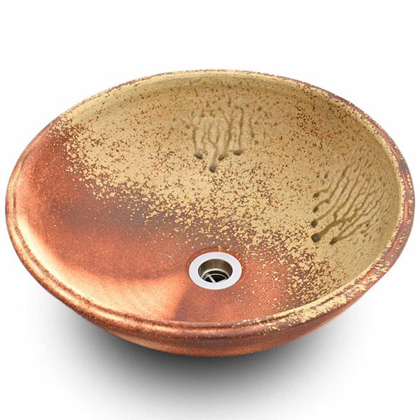 重蔵窯:信楽焼手洗い 利休信楽手洗い鉢 炎杉灰 001-40