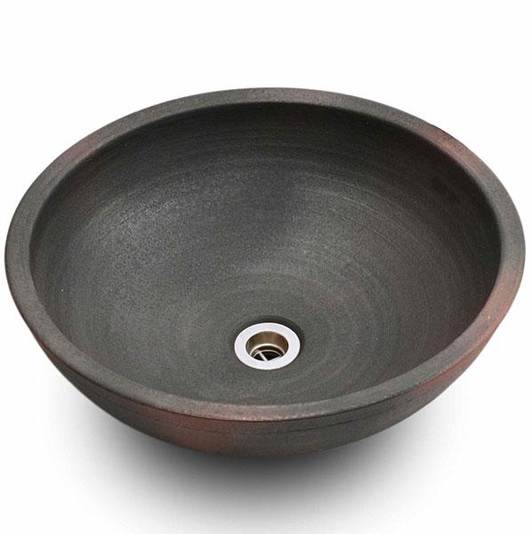 重蔵窯:信楽焼手洗い 利休信楽手洗い鉢 窯自然釉 019-40
