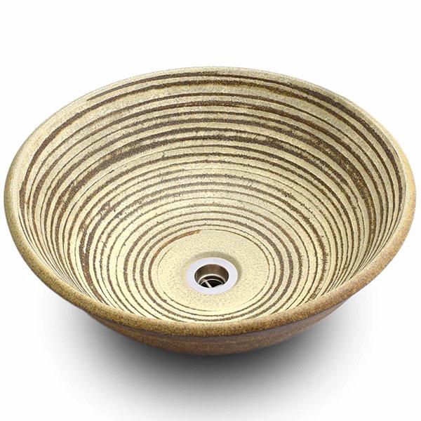 重蔵窯:信楽焼手洗い 利休信楽手洗い鉢 白泥千紋様 009-40