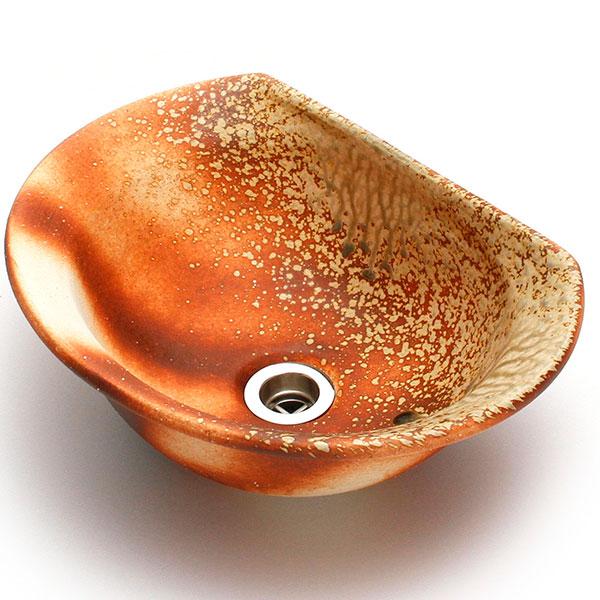 重蔵窯:幻想的デザイン半月 信楽焼 利休信楽手洗い鉢 炎杉灰 TUKI001-D27