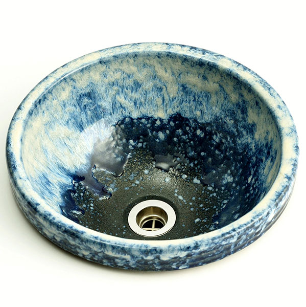 重蔵窯:丸埋めこみ型手洗い鉢 信楽焼 利休信楽手洗い鉢 海鼠 MA16-30