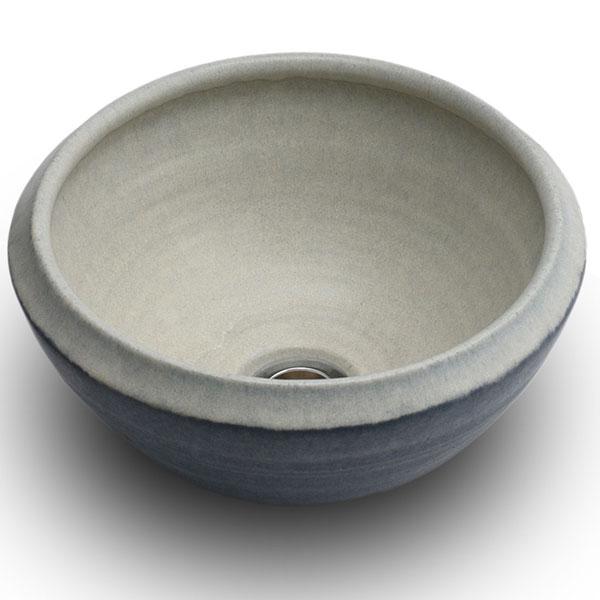 重蔵窯:MEBIUS手洗い鉢  利休信楽 ホワイトブルー MEBI-1127WB