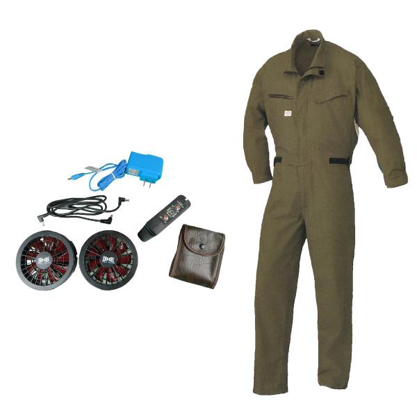 ラグナ:扇風機付長袖ツナギアーミーグリーンM初期導入セット 1-9850AGM-S SST 特殊工具 自動車