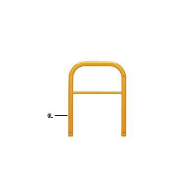 帝金:帝金バリカー 横型 φ60.5 スチール製 固定式 横桟付 82-A3黄色