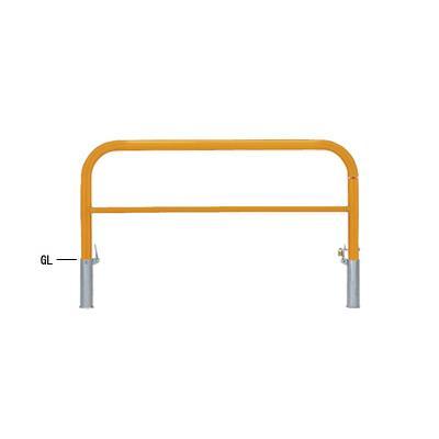帝金:帝金バリカー 横型 φ60.5 スチール製 脱着式鍵付 横桟付 82PK3-15黄色