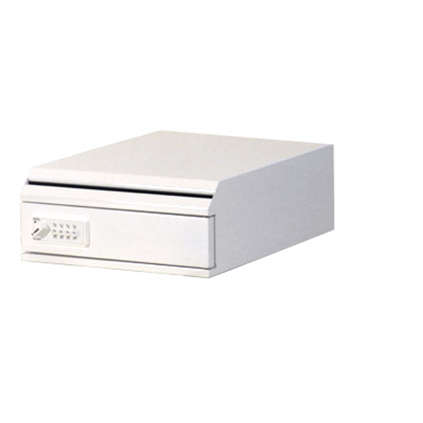 ぶんぶく:機密書類回収ボックス 卓上 ダイヤル錠仕様 ネオホワイト KIM-S-6D