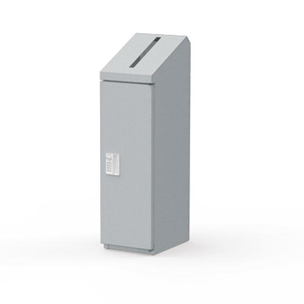 ぶんぶく:機密書類回収ボックス スリム ダイヤル錠仕様 シルバーメタリック KIM-S-4D