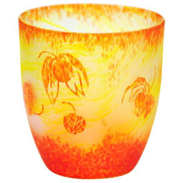 上越クリスタル硝子:月夜野工房 カーブグラス ほおずき 05W-084