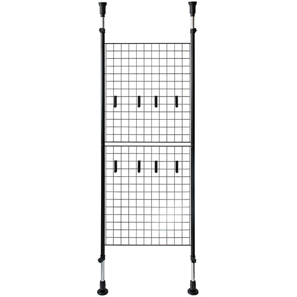 宮武製作所:突っ張り パーテーション ルガード ブラック 間仕切り 壁面収納 ワイヤーネット 省スペース SK-640