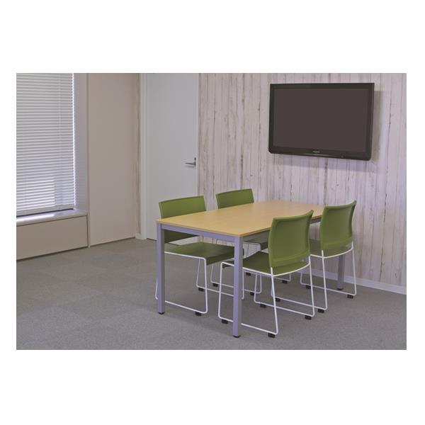 【法人限定】アール・エフ・ヤマカワ:(SET)BONUMミーティングセット 4人用 ナチュラル×グリーン RFMT-1575NN-BONUM-GREEN オフィス家具 会議室 ミーティングルーム 会議机 大型テーブル
