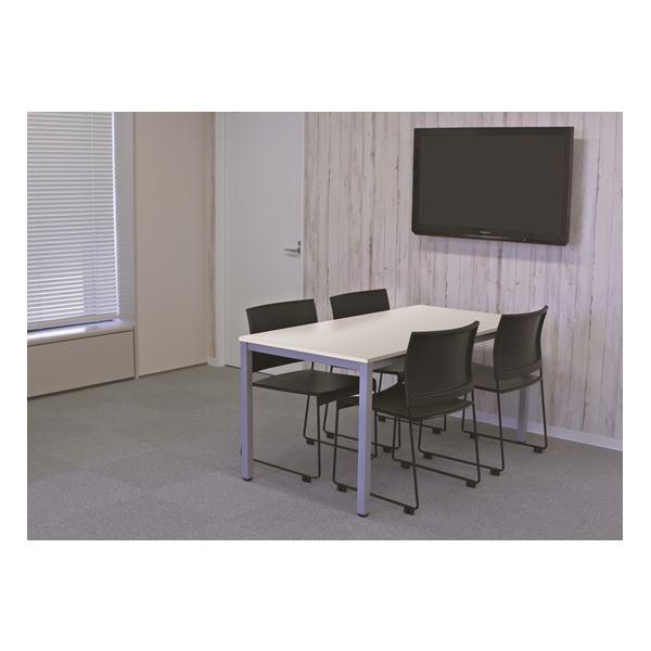 【法人限定】アール・エフ・ヤマカワ:(SET)BONUMミーティングセット 4人用 ホワイト×ブラック RFMT-1575W-BONUM-BLACK オフィス家具 会議室 ミーティングルーム 会議机 大型テーブル