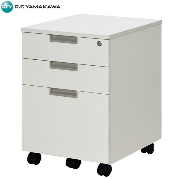 【法人限定】アール・エフ・ヤマカワ:スチール脚デスク インサイドワゴン ホワイト GZCA-SLWH