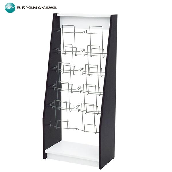 【代引不可】アール・エフ・ヤマカワ:木製カタログスタンドIIダブル ダーク×ホワイト SHKS2-002D
