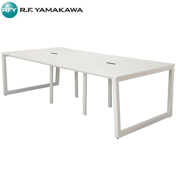 【法人限定】アール・エフ・ヤマカワ:リスム フリーアドレス用テーブル W2400×D1200 ホワイト×ホワイト脚 4ヶ口コンセント付き RFFLT-2412WH-WL