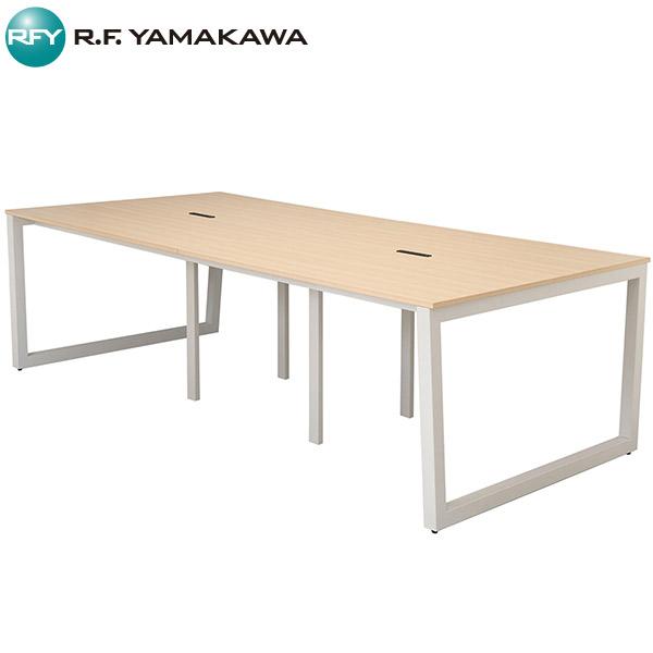 【法人限定】アール・エフ・ヤマカワ:リスム フリーアドレス用テーブル W2400×D1200 ナチュラル×ホワイト脚 4ヶ口コンセント付き RFFLT-2412NA-WL