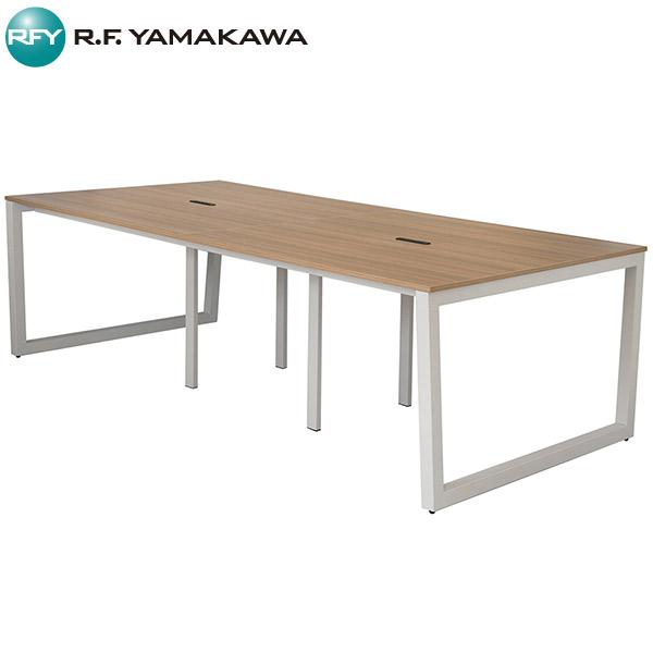 【法人限定】アール・エフ・ヤマカワ:リスム フリーアドレス用テーブル W2400×D1200 ウォルナット×ホワイト脚 4ヶ口コンセント付き RFFLT-2412DM-WL