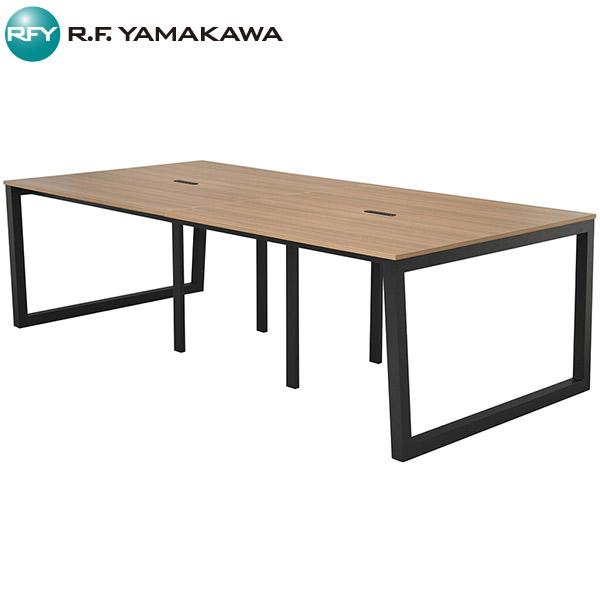 【法人限定】アール・エフ・ヤマカワ:リスム フリーアドレス用テーブル W2400×D1200 ウォルナット×ブラック脚 4ヶ口コンセント付き RFFLT-2412DM-BL