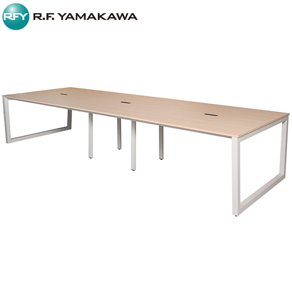 【法人限定】アール・エフ・ヤマカワ:リスム フリーアドレス用テーブル W3600×D1200 ナチュラル×ホワイト脚 4ヶ口コンセント付き RFFLT-3612NA-WL