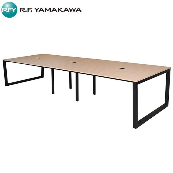 【法人限定】アール・エフ・ヤマカワ:リスム フリーアドレス用テーブル W3600×D1200 ナチュラル×ブラック脚 4ヶ口コンセント付き RFFLT-3612NA-BL