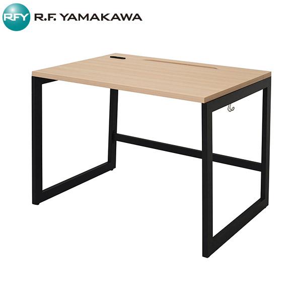 【法人限定】アール・エフ・ヤマカワ:リスム デスク W1000×D700 ナチュラル×ブラック脚 2ヶ口コンセント付き RFFLD-1070NA-BL