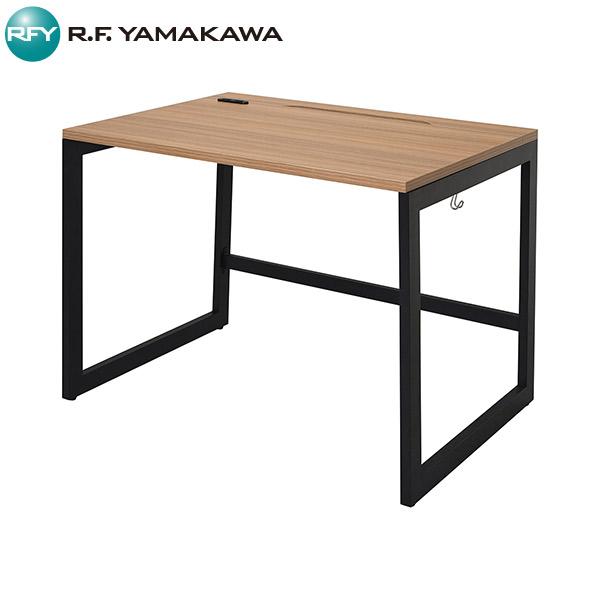 【法人限定】アール・エフ・ヤマカワ:リスム デスク W1000×D700 ウォルナット×ブラック脚 2ヶ口コンセント付き RFFLD-1070DM-BL