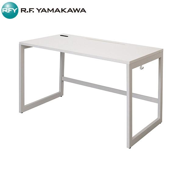 【法人限定】アール・エフ・ヤマカワ:リスム デスク W1200×D700 ホワイト×ホワイト脚 2ヶ口コンセント付き RFFLD-1270WH-WL
