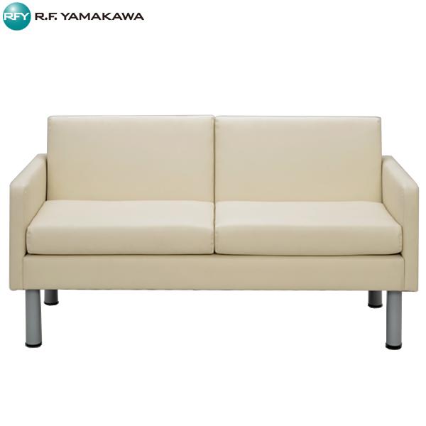 【代引不可】アール・エフ・ヤマカワ:コンパクトソファ2 2人用 ホワイト RFESF2-2WH