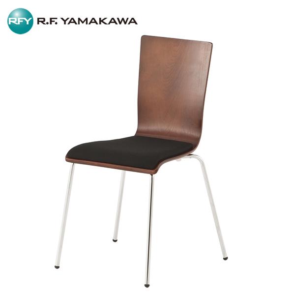 【法人限定】アール・エフ・ヤマカワ:[SET]プライウッドチェア ダーク パッド付 4脚SET RFC-FPDBBK-4SET オフィス 会社 家具 いす 椅子 イス