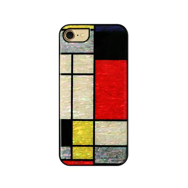 ikins(アイキンス):天然貝ケース Mondrian ブラックフレーム iPhone 7/8対応