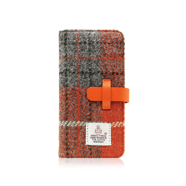 SLG Design(エスエルジーデザイン):iPhone8/7 Harris Tweed Diary オレンジ×グレー