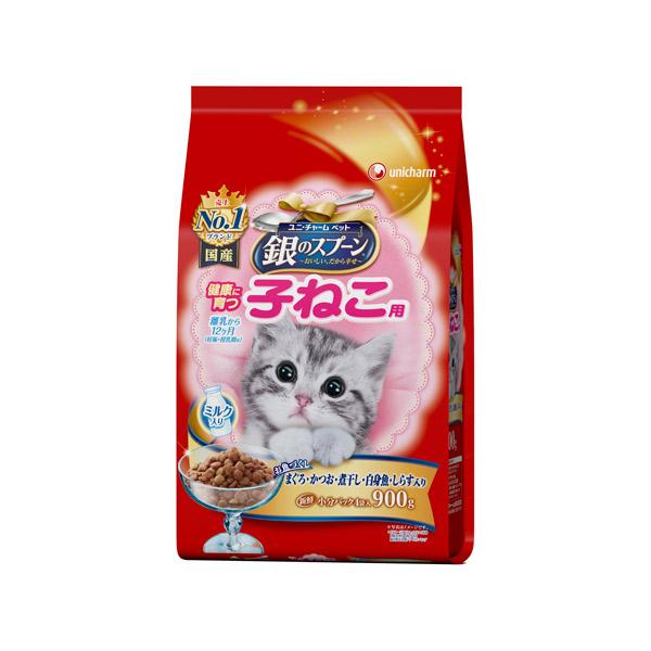 ユニ・チャーム:銀のスプーン 贅沢うまみ仕立て 健康に育つ子ねこ用お魚づくしミルク入り 900g