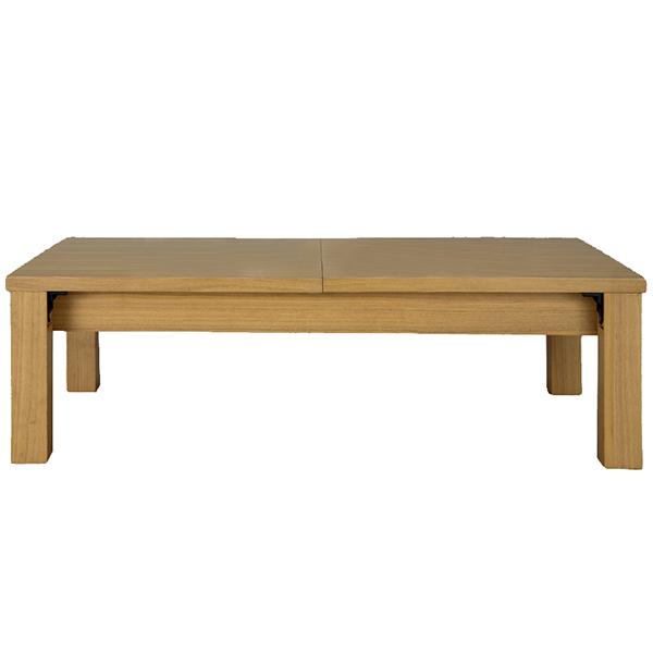 【代引不可】サンハーベスト:伸縮折れ脚式リビングテーブル ライトブラウン 幅120/150/180cm JJ-2120LBR