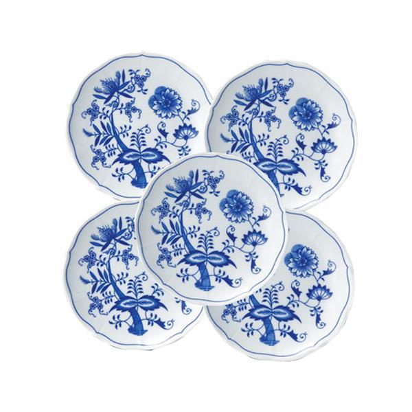 【代引不可】BOHEMIA BLUE ONION(ボヘミア ブルーオニオン):ブルーオニオントラディション プレート5枚セット CB021-5