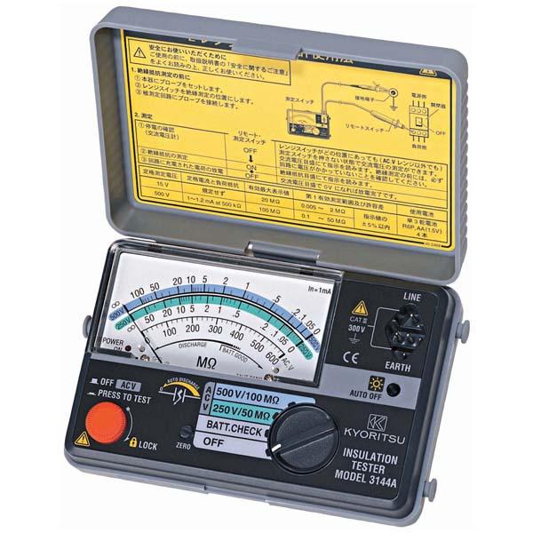 共立電気計器:アナログ絶縁抵抗計(小型2レンジ) MODEL3144A